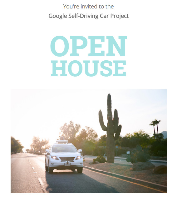 Google Car Open House invitation