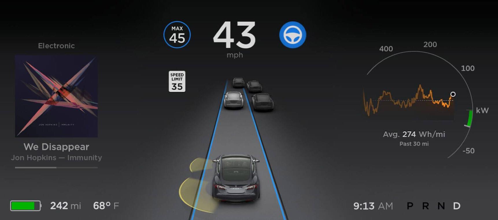 Tesla 8.0 autopilot dashboard