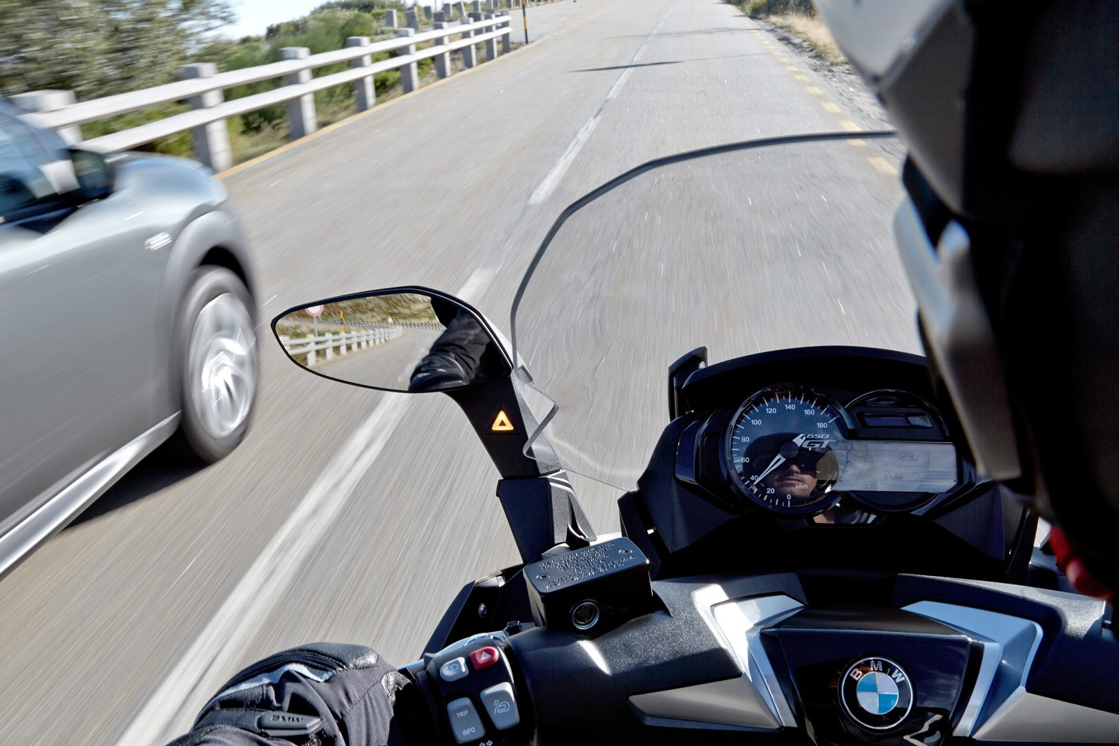 bmw motorbike on the road