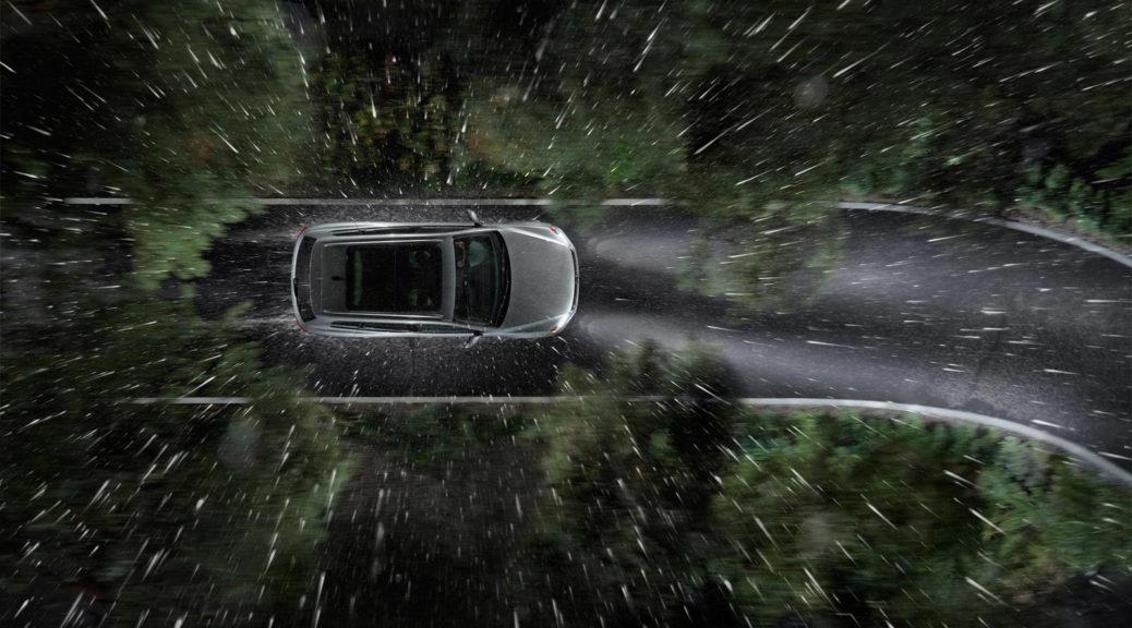car driving rain