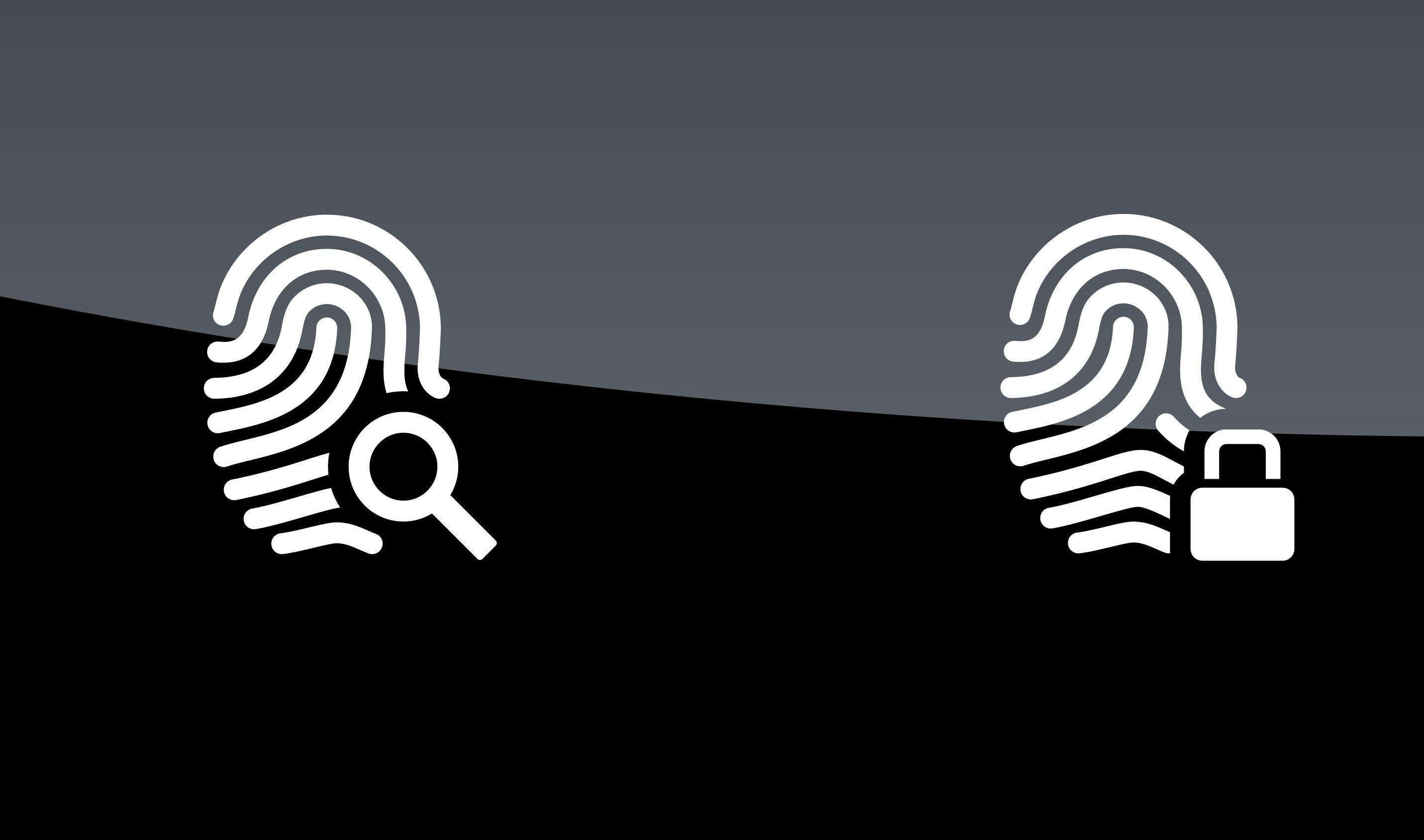 Finger scanner icons on black background. Vector illustration.