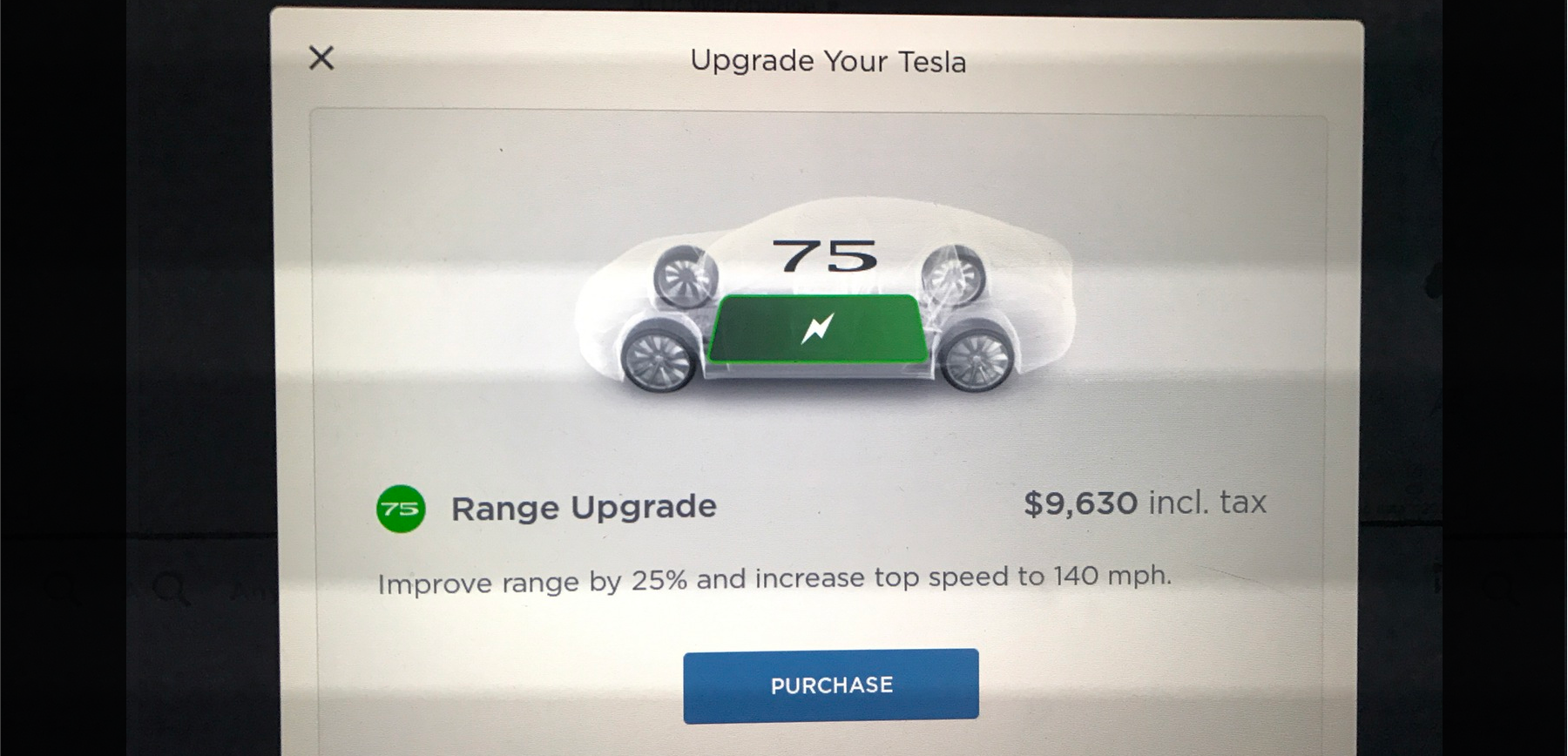 tesla in car purchase