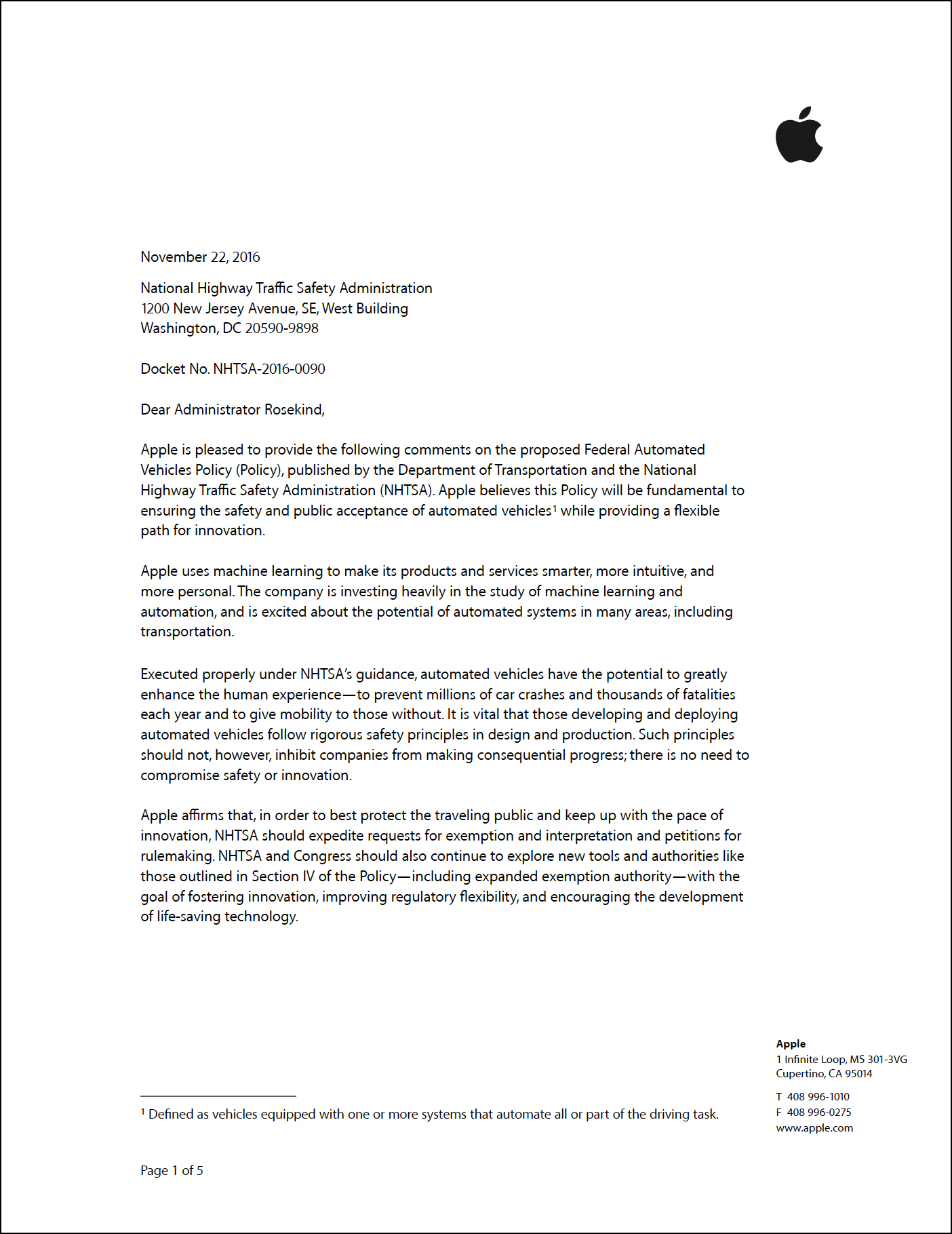 Apple letter NHTSA