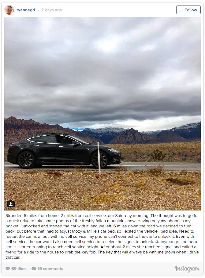 ryan negri tesla model s desert