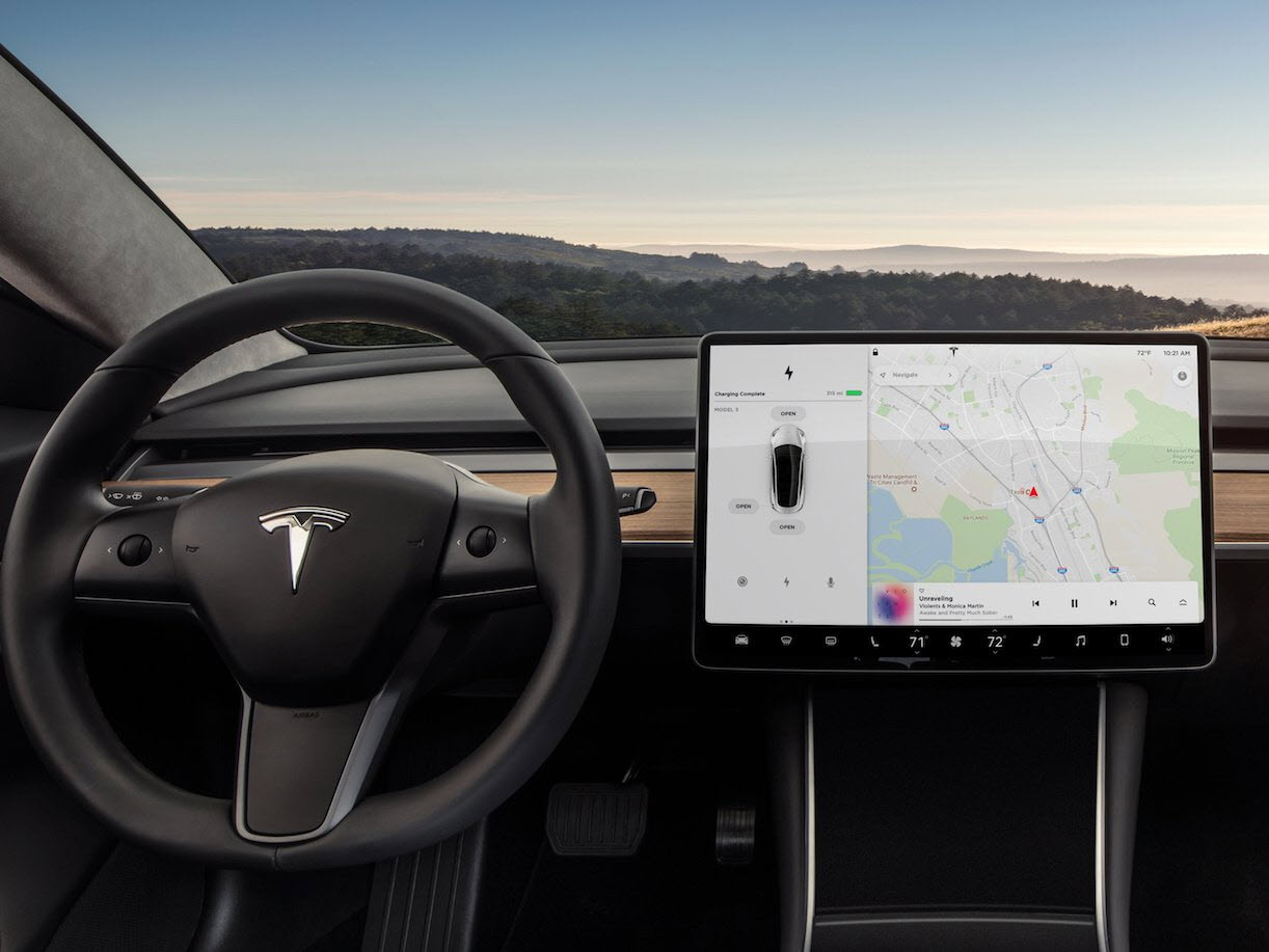 Tesla Model 3 interior display