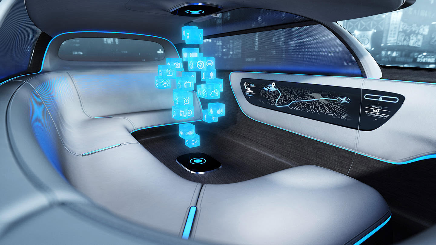 self driving car interior benz
