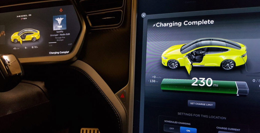 Tesla charging screen