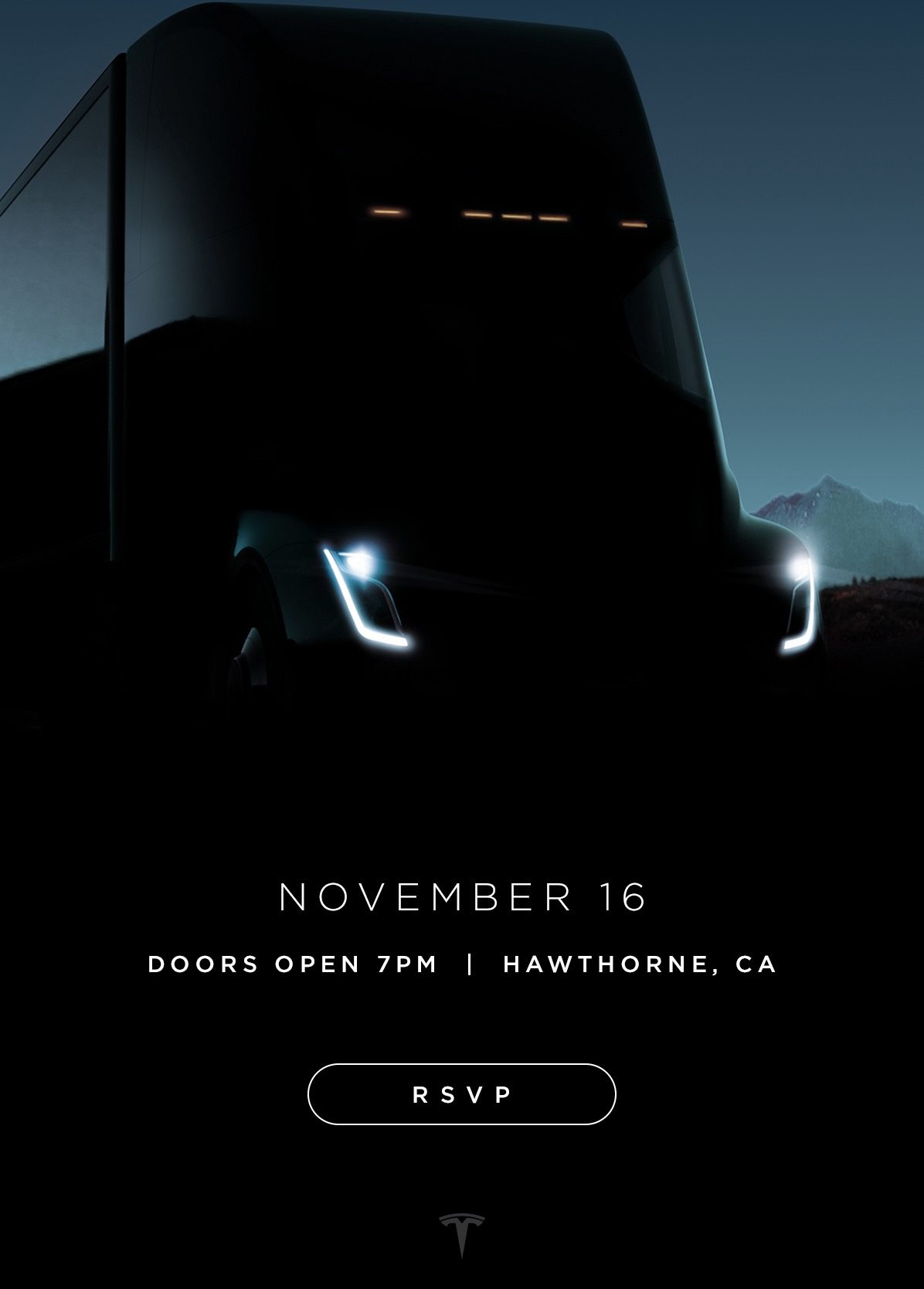 Tesla Semi invitation