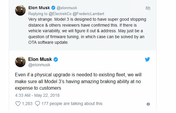 Elon Musk tweet braking