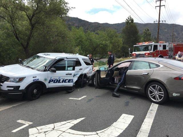Tesla Model S police car accident