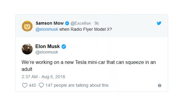 Tesla Mini tweet