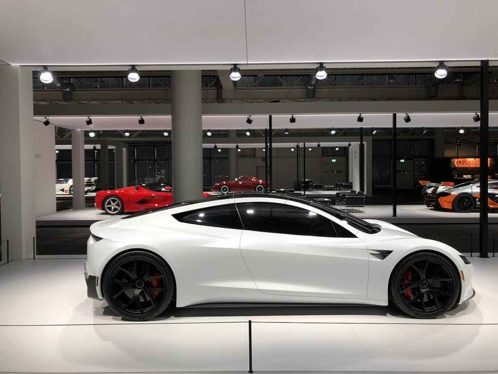 Tesla Roadster Grand Basel white