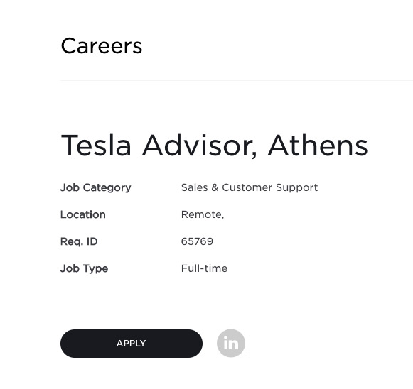 Tesla Athens Greece Jobs