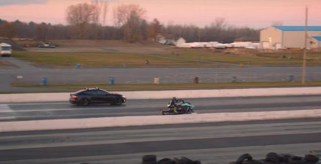 Tesla Model S 85D Vs Taiga snowmobile